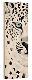 Wood print  The leopard - panorama - Annett Tropschug