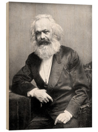 Wood print  Portrait of Karl Marx - English Photographer