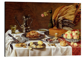Aluminium print  Still Life with a Peacock Pie - Pieter Claesz
