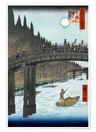 Premium poster  Kyoto bridge by moonlight - Utagawa Hiroshige