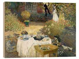 Wood print  The Luncheon: Monet's garden at Argenteuil - Claude Monet