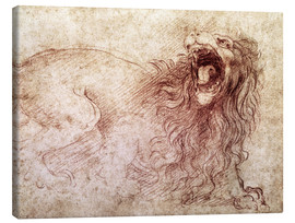 Canvas print  Sketch of a roaring lion - Leonardo da Vinci