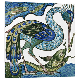 Foam board print  Heron and Fish - Walter Crane