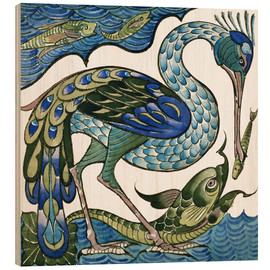 Wood print  Heron and Fish - Walter Crane