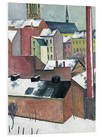 Foam board print  The Church of St Mary in Bonn in Snow - August Macke