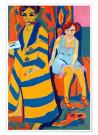 Premium poster  Self Portrait with a Model - Ernst Ludwig Kirchner