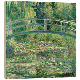 Wood print  White waterlilies - Claude Monet