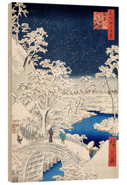Wood print  Drum bridge and Setting Sun Hill at Meguro - Utagawa Hiroshige