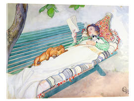 Acrylic print  Woman lying on a bench - Carl Larsson