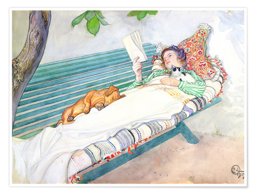 Premium poster Woman lying on a bench