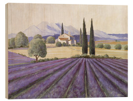 Wood print  Lavender Fields - Franz Heigl