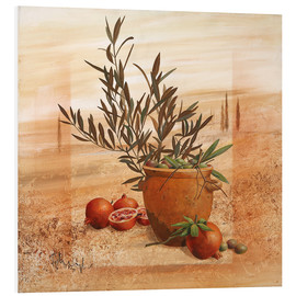 Foam board print  Pomegranate and olive harvest - Franz Heigl