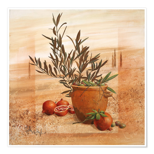 Premium poster Pomegranate and olive harvest