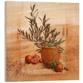 Wood print  Pomegranate and olive harvest - Franz Heigl