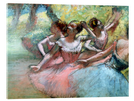 Acrylic print  Four ballerinas on the stage - Edgar Degas