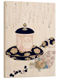 Wood print  A Pot of Tea and Keys - Katsushika Hokusai