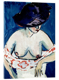Acrylic print  Half-naked woman with a hat - Ernst Ludwig Kirchner