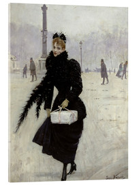 Acrylic print  Parisian woman in the Place de la Concorde - Jean Beraud