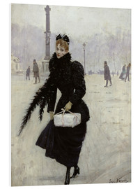 Foam board print  Parisian woman in the Place de la Concorde - Jean Beraud