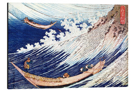 Aluminium print  Two small fishing boats on the sea - Katsushika Hokusai