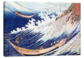 Canvas  Two Small Fishing Boats on the Sea - Katsushika Hokusai