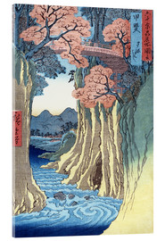 Acrylic print  The Monkey Bridge in the Kai Province - Utagawa Hiroshige