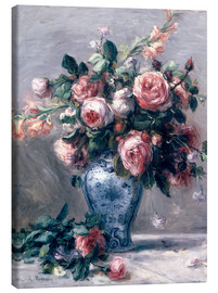 Canvas  Vase of Roses - Pierre-Auguste Renoir