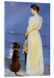Acrylic print  Summer Evening at Skagen. The Artist's Wife and Dog by the Shore - Peder Severin Krøyer