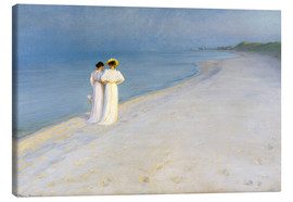 Canvas  Summer Evening on the Skagen Southern Beach with Anna Ancher and Marie Kroyer - Peder Severin Krøyer