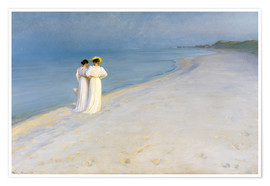 Poster  Summer Evening on the Skagen Southern Beach with Anna Ancher and Marie Kroyer - Peder Severin Krøyer