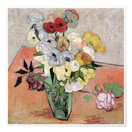 Poster  Roses and Anemones - Vincent van Gogh