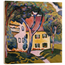 Wood print  House in a Landscape - August Macke