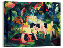 Wood print  Landscape with Cows and a Camel - August Macke