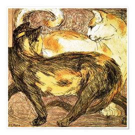 Premium poster  Two cats - Franz Marc