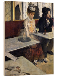 Wood print  In a Cafe - Edgar Degas