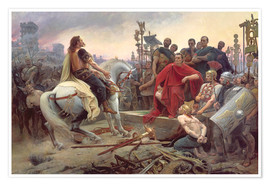 Premium poster  Vercingetorix throws down his weapons at the feet of Julius Caesar - Lionel Noel Royer