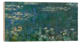 Wood print  Waterlilies, Green Reflections - Claude Monet