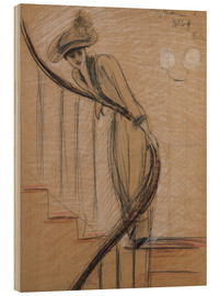 Wood print  The staircase - Paul Cesar Francois Helleu