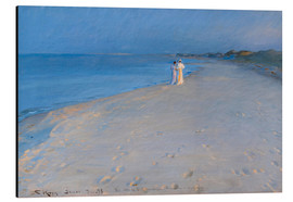 Aluminium print  Summer evening at the South Beach, Skagen. Anna Ancher and Marie Krøyer. - Peder Severin Krøyer
