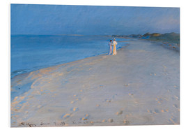 Foam board print  Summer evening at the South Beach, Skagen. Anna Ancher and Marie Krøyer. - Peder Severin Krøyer