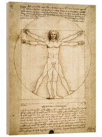 Wood print  The Proportions of the human figure - Leonardo da Vinci