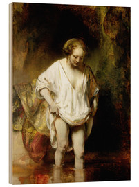 Wood print  Woman Bathing in a Stream - Rembrandt van Rijn