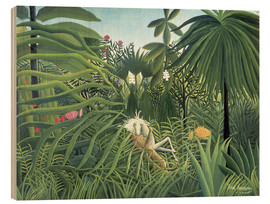 Wood print  Jaguar Attacking a Horse - Henri Rousseau