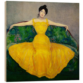 Wood print  Lady in a yellow dress - Maximilian Kurzweil