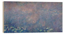 Wood print  Waterlilies: Two Weeping Willows (detail) - Claude Monet