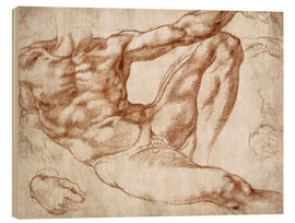 Wood print  Study on Adam from The Creation of Adam - Michelangelo