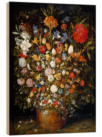 Wood print  Large bouquet of flowers in a wooden tub - Jan Brueghel d.Ä.