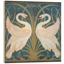 Wood print  Swan, Rush and Iris - Walter Crane