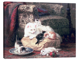 Canvas print  Cat with her Kittens on a Cushion - Henriette Ronner-Knip