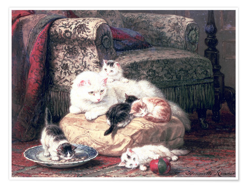 Premium poster Cat with her Kittens on a Cushion